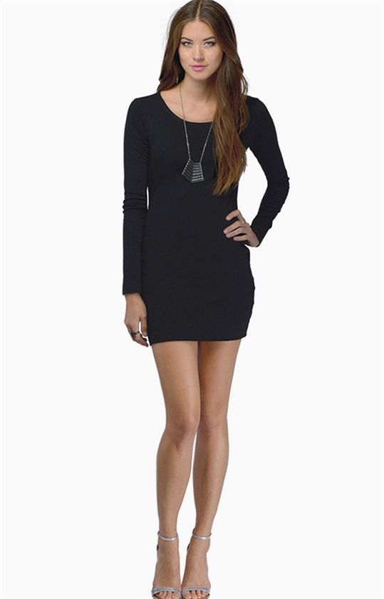 Womens Sexy Backless Party Prom Clubwear Cocktail Long Sleeve Mini Dress