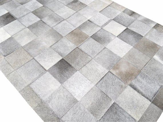 Gray Cowhide Patchwork Rug Gray Patchwork Cowhide Rug Grey Leather Hide Area Rug Farmhouse Decor Rustic Home Decor Grey Rugs Cow Hide Rug Patchwork Rugs
