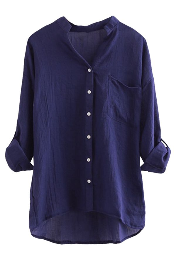 e8c933388f42e3 Navy Blue Stand Collar Plain Button Three Quarter Sleeve Ladies Blouse on  sale at reasonable prices, buy cheap Navy Blue Stand Collar Plain Button  Three ...