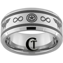 Captain America And Wonder Woman With Infinity Custom Engraving Available 49 Custom Ring Designs Wedding Anniversary Rings Captain America Wedding