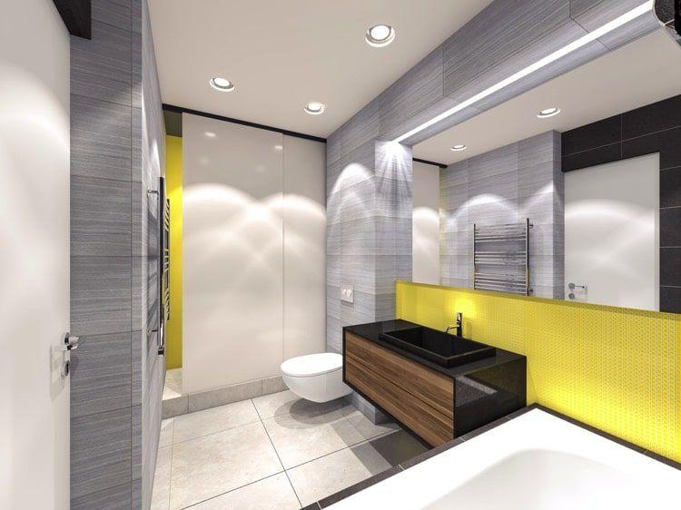 Salle de bain moderne avec ses spots lumineux encastrés, sa ...
