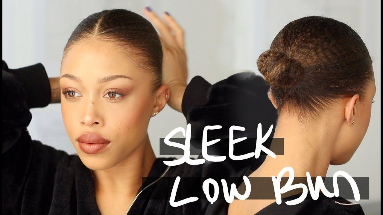 Sleek Low Bun On Natural Hair Relaxing Video Natural Hair Bun Styles Natural Hair Styles Black Hair Bun