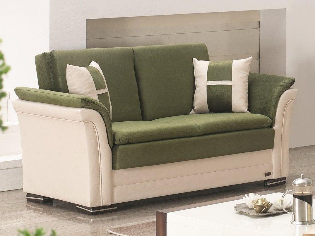 Empire Furniture DAKOTA Loveseat - Beige&green fabric sleeper loveseat. Dimensions:94L X 35D X 36H (46X75 BED SIZE)