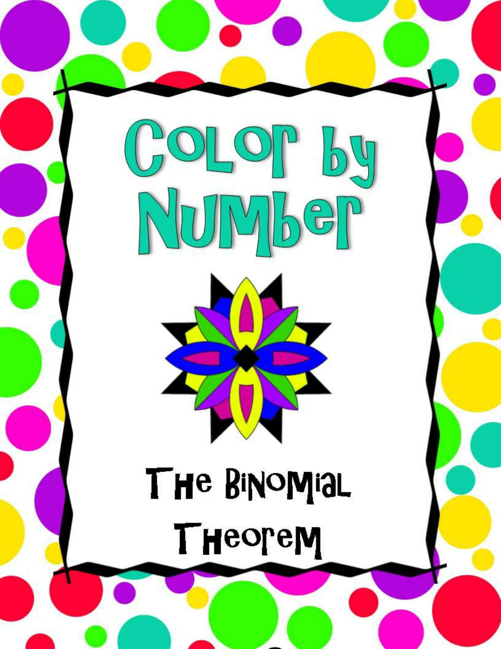 The Binomial Theorem Color By Number Equations Absolute Value Equations Solving Quadratic Equations
