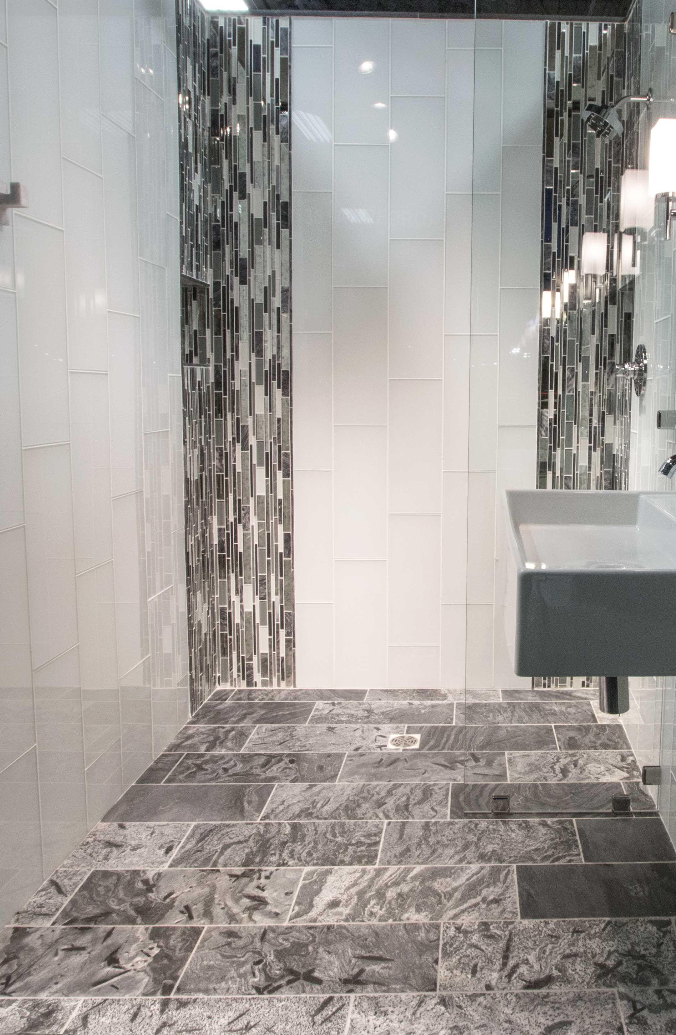 Cool and contemporary bathroom floor tile Silver Grey