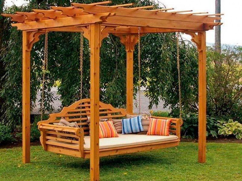 Details zu HollywoodSchaukel Gartenmöbel Massiv Holz Schaukel ...