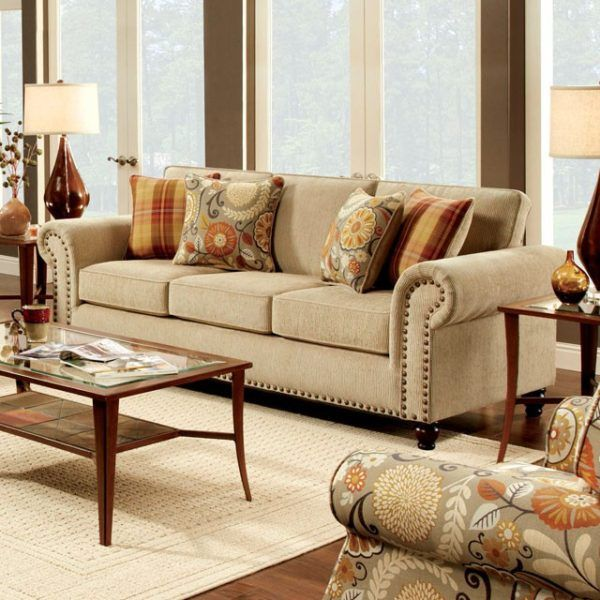 Rolled Arm Nailhead Trim Beige Sofa Tan Sofa Beige Couch Tan Couch Transitional