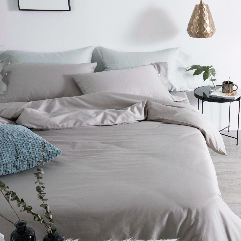 Light Grey Bed Cover 60s Egyptian Cotton Bed Sheet Set Elegant Bedding Sets 4pcs Bedding Luxury Solid Bed Clothing W Luxury Bedding Bedding Sets Bed Sheet Sets