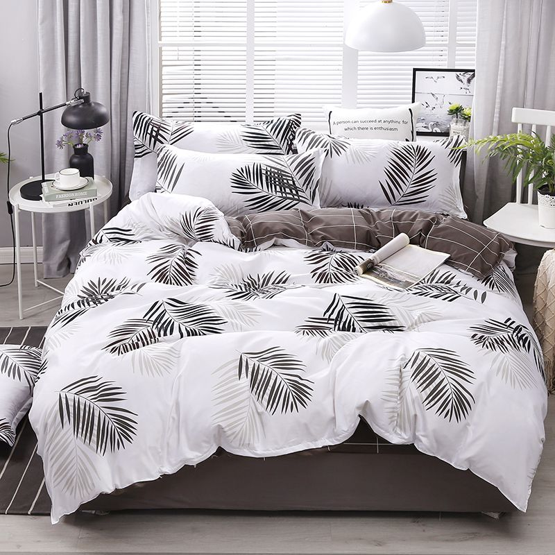 Printed Duvet Cover Set Queen Plant Green Leaf Cotton Single Double King Size Quilt Covers Sets Simple Bedclothes Duvets Bedding Sets Bedding Set High Quality Bedding