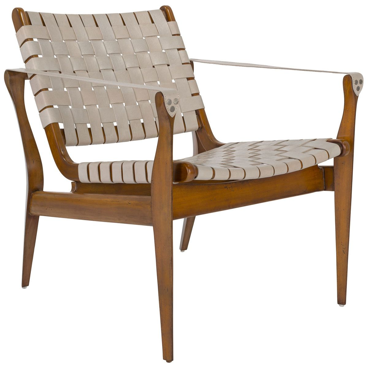 Mid Century Modern Woven Leather Strap Armchair