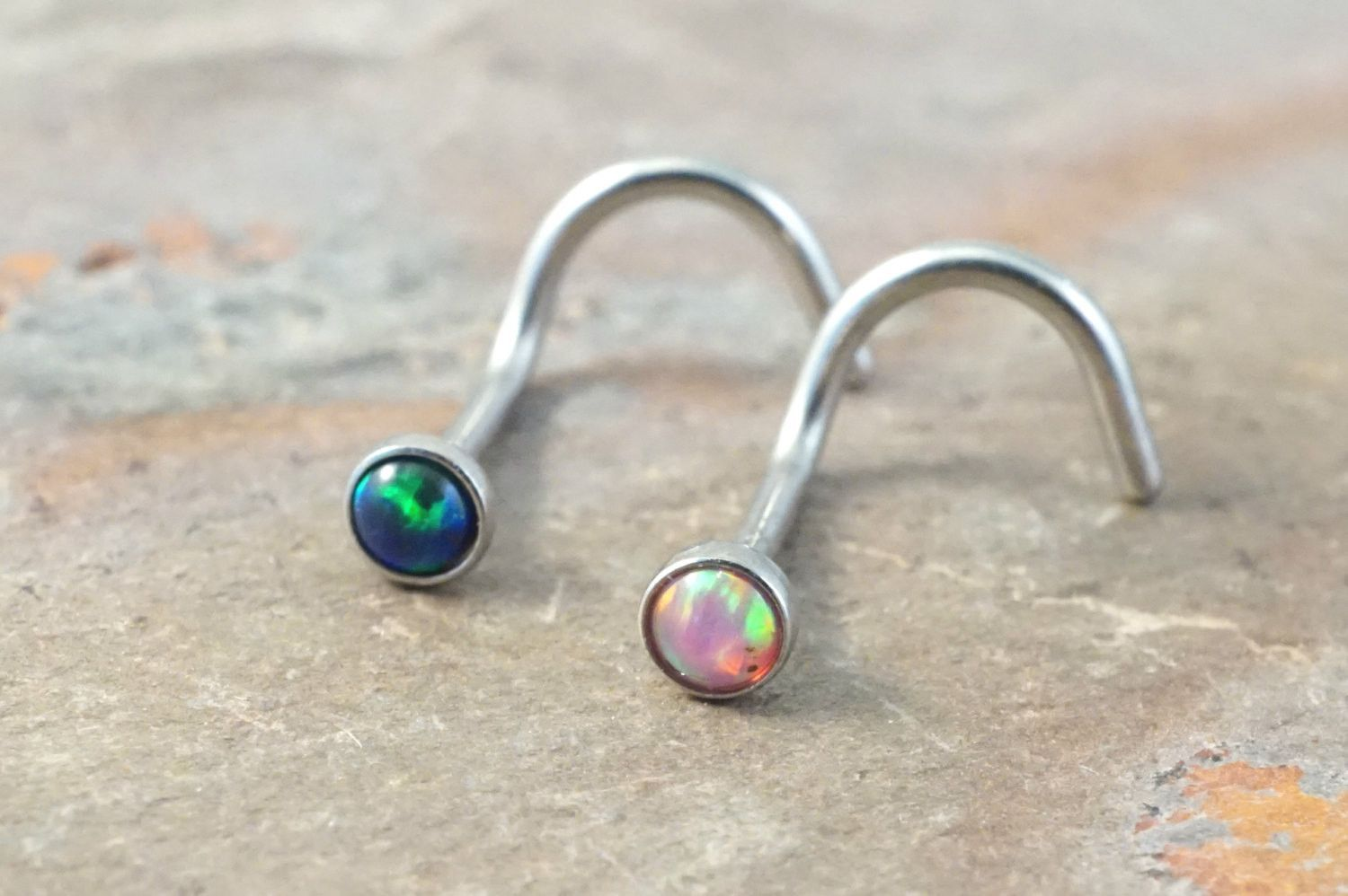 Corkscrew nose piercing  Pink Opal and Black Fire Opal Corkscrew Nose Piercing Ring Stud