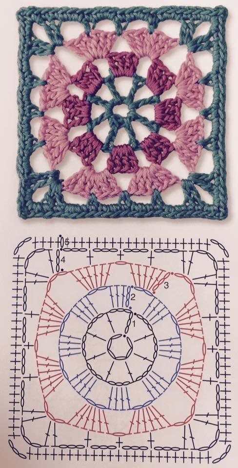 crochelinhasagulhas: Square em crochê | Crocheting | Pinterest ...