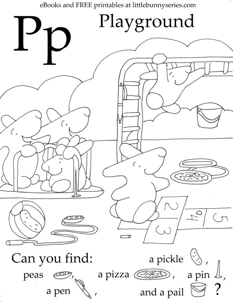 Seek and Finds — Little Bunny series Letter p worksheets