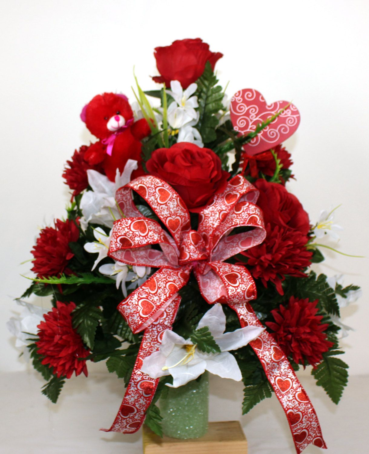 Beautiful red carnations and white lilies 3 inch cemetery vase beautiful red carnations and white lilies 3 inch cemetery vase flower arrangement by crazyboutdeco on etsy reviewsmspy
