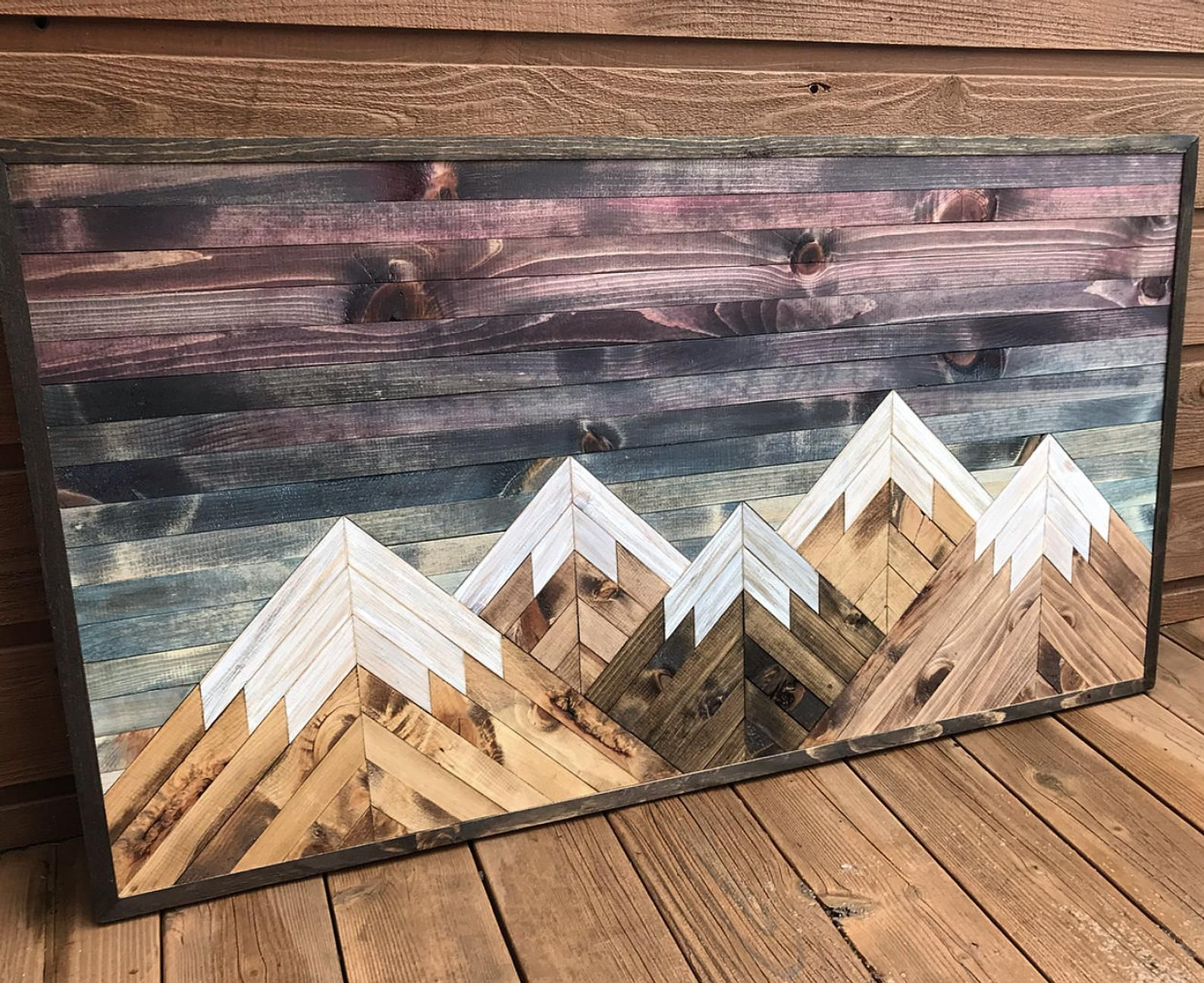 Large rustic sunset five mountains wood wall art etsy in