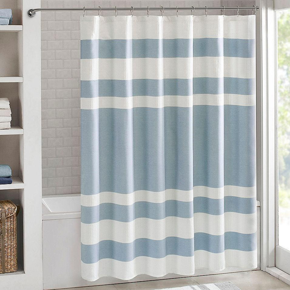 Madison Park 54 X 78 Spa Waffle Shower Curtain In Blue In 2019
