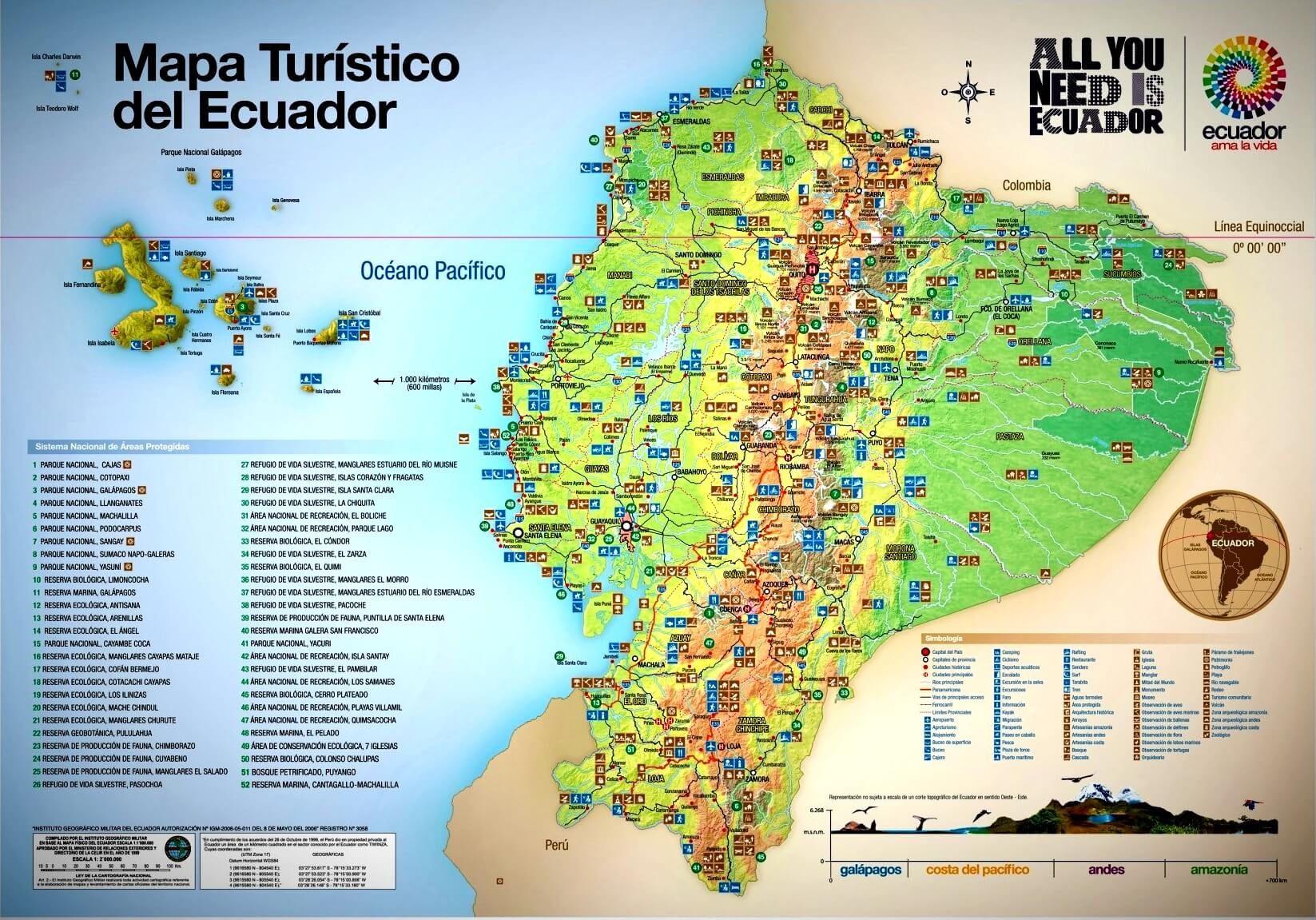 Ecuador Tourist Attractions Map Tourist Map Tourist Tourist Attraction