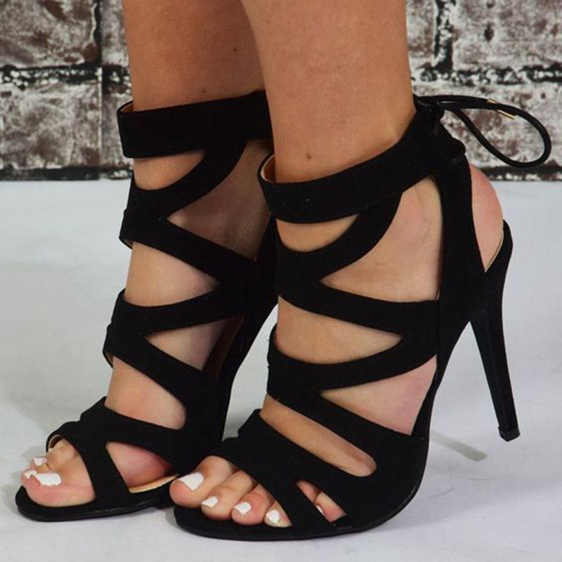 7d9068c7ead Black Hollow Lace-Up Open Toe Sandals in 2019 | Elegant Sandals ...