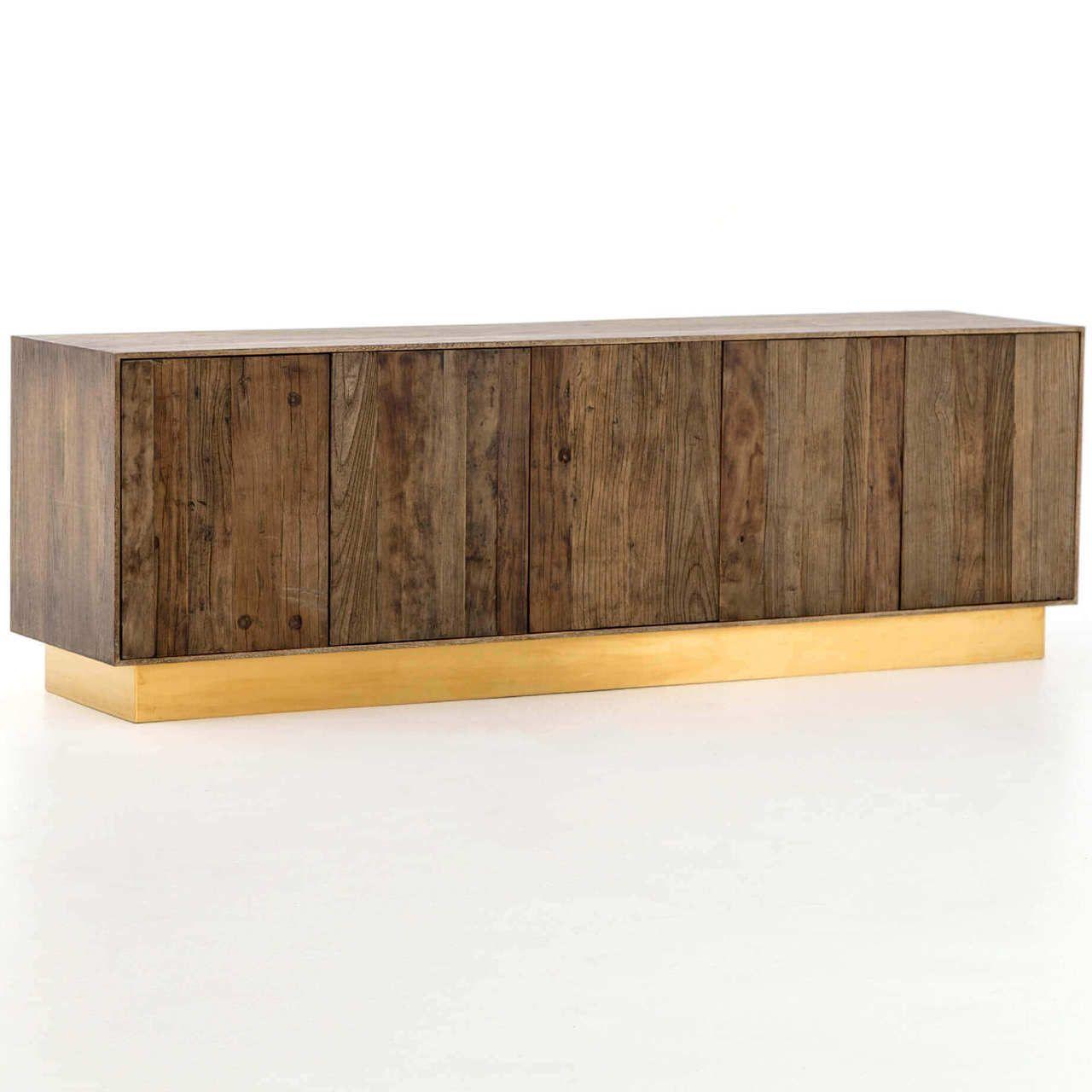 Hana Polished Br And Reclaimed Wood Media Console