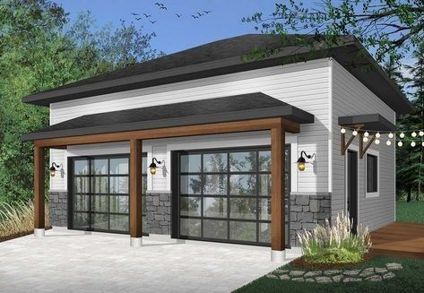 Modern 2-car detached garage - dr architectural designs - house plans #detachedgarage