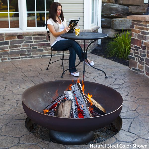 The patriot wood burning fire bowl natural steel for Outdoor modern fire pit
