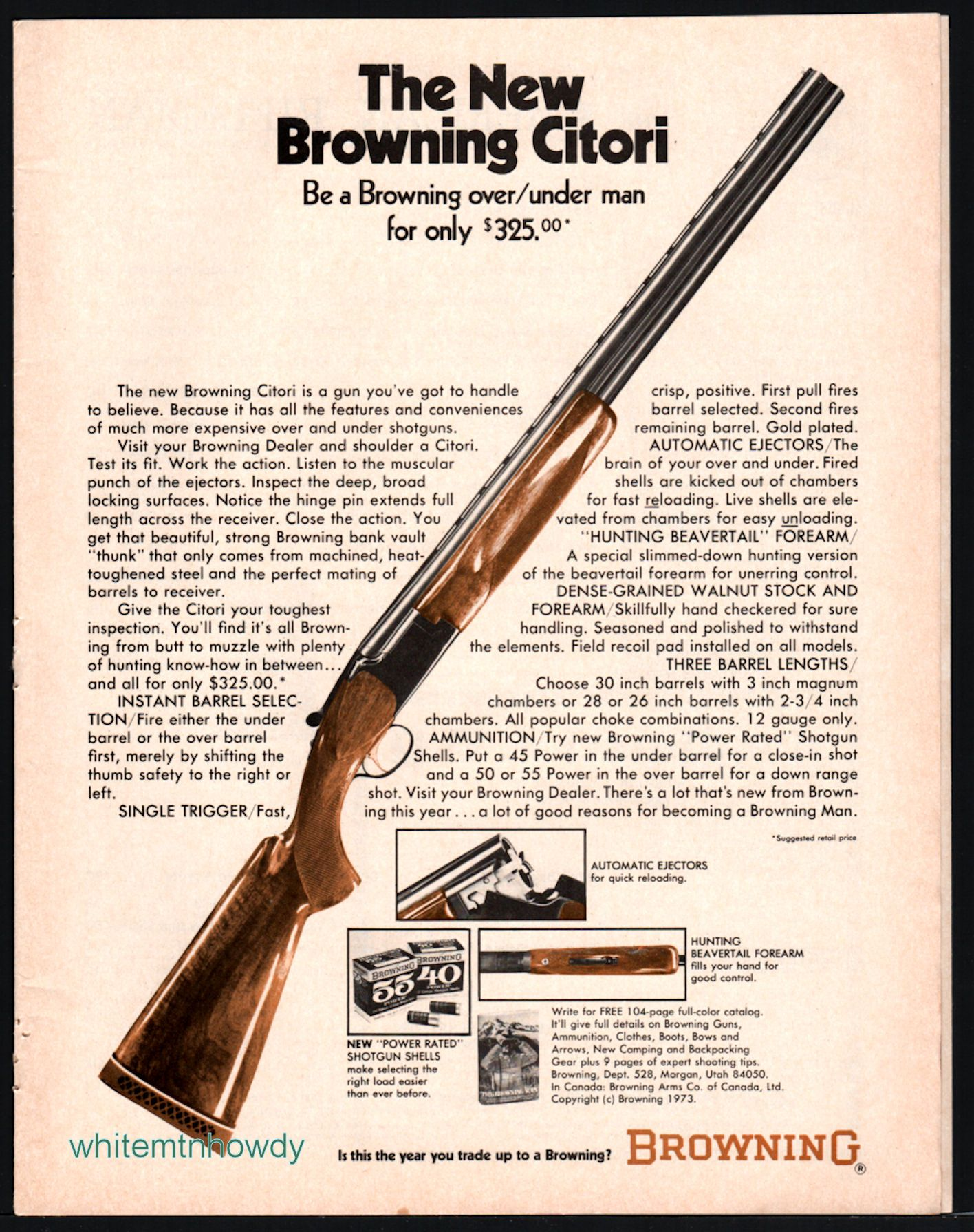 1973 BROWNING Citori OU Shotgun PRINT AD w/price : Other