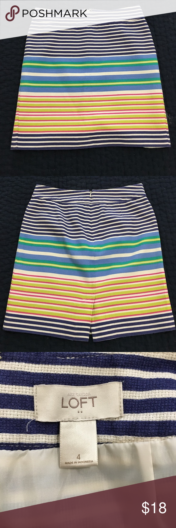 Ann Taylor Loft Striped Skirt sz 4 Very good condition! Size 4. 100% cotton shell and 100% polyester lining. Machine wash. Ann Taylor Skirts Midi