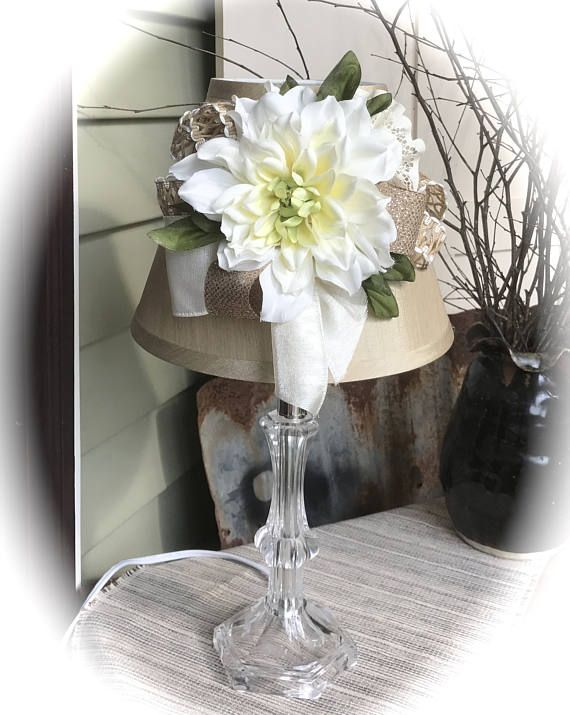 handmade / table lamp / decorated lamp / Cottage Chic / bedside lamp / ivory / burlap / small lamp / desk lamp / floral / unique lamps