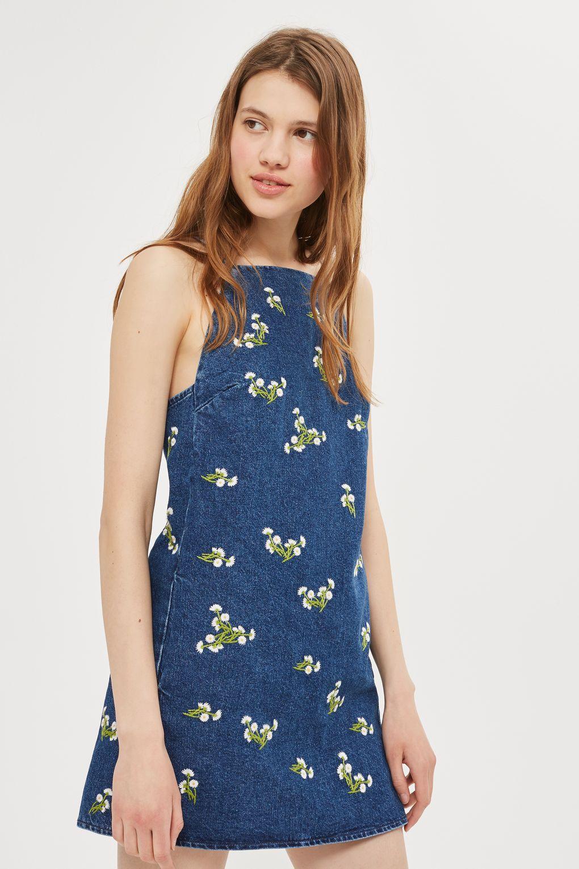 PETITE Embroidered Daisy Denim Mini Dress - Dresses - Clothing ...