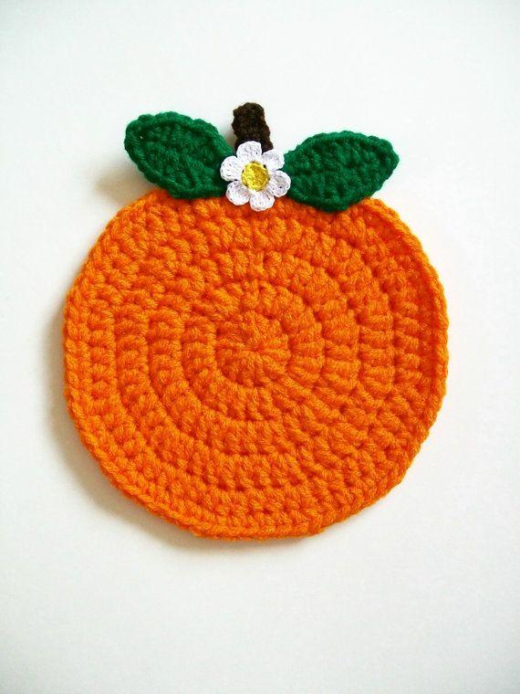 Fruta naranja bote titular Crochet cojín caliente tomaollas ...