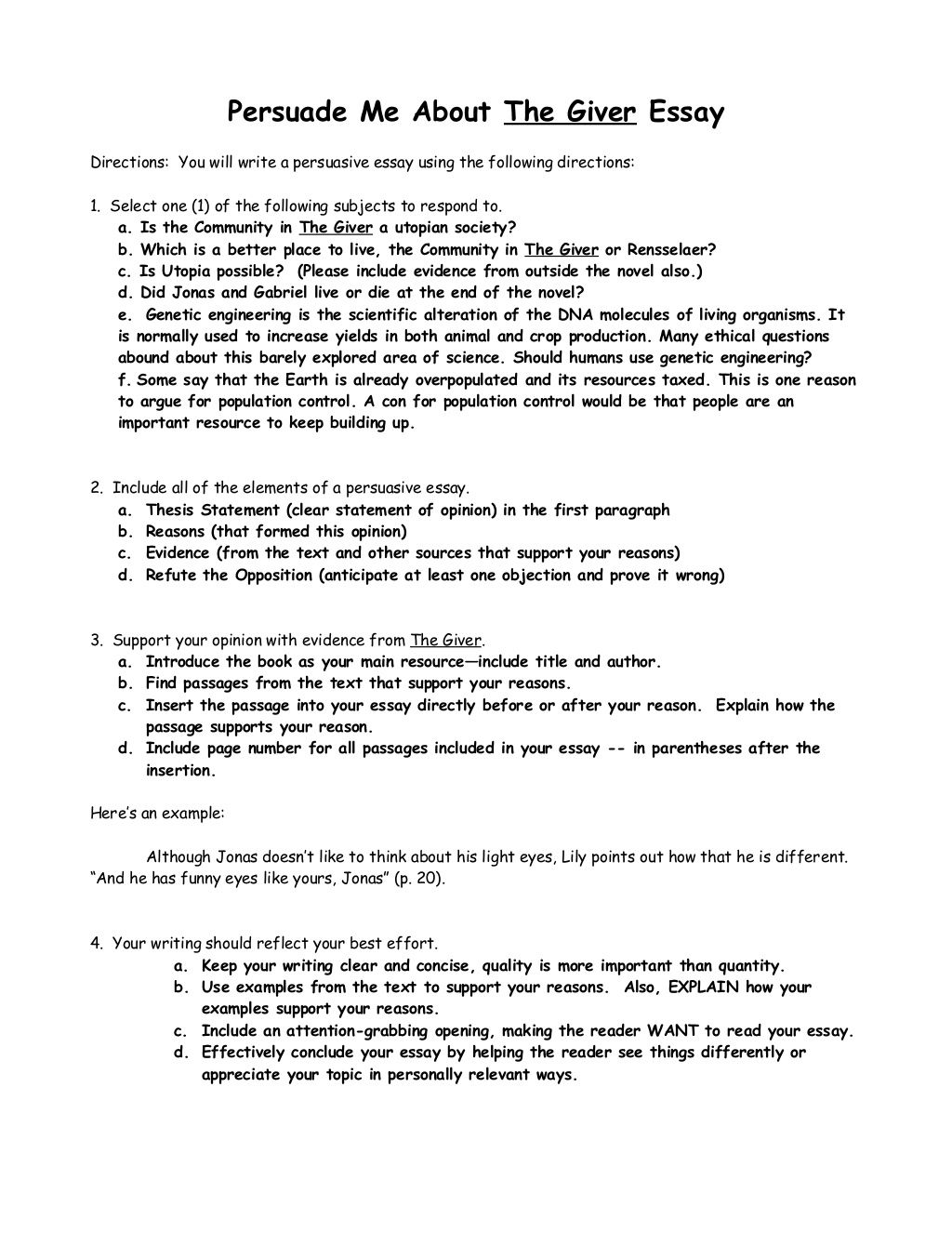 Persuasive Essay Examples For High School Thegiverpersuasiveessay By Debra Spangler Via Slideshare Good Science Essay Topics also Making A Thesis Statement For An Essay Thegiverpersuasiveessay By Debra Spangler Via Slideshare  Th  English Essay Books