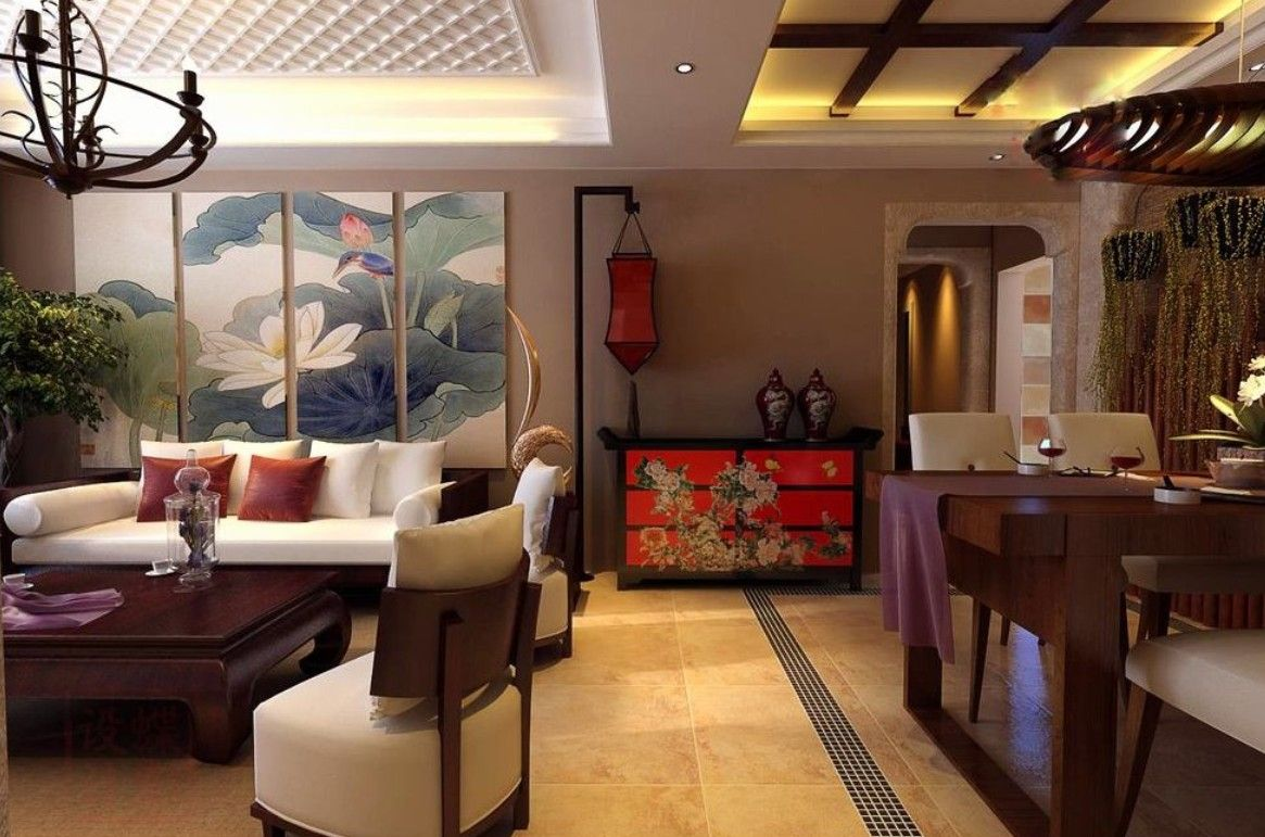 chinese living dining room decoration 3d design chinese living