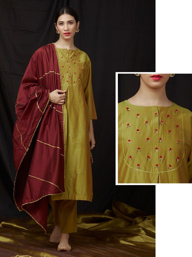 87ac595d3d Mustard Yellow Embroidered Chanderi Kurta with Cotton Pants and Maroon  Dupatta- Set of 3