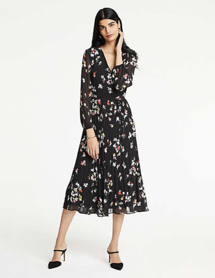 a2906e3089b3 Ann Taylor Meadow Floral Pleated Wrap Dress | Ann Taylor x Street ...