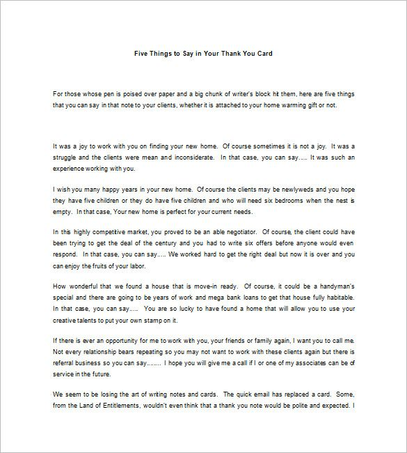 Real Estate Thank You Letters   Free Word Excel Pdf Format