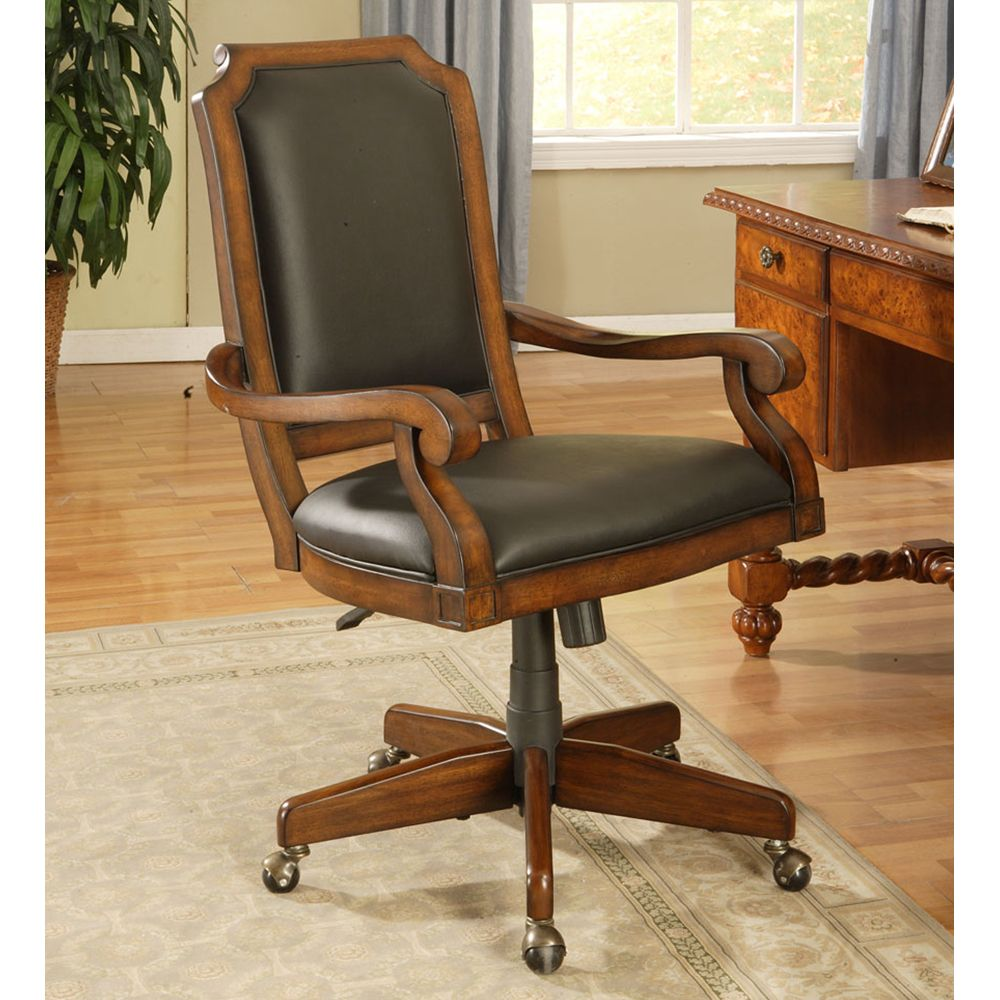 Classic Cherry Upholstered Desk Chair By Winners Only Wooden Home Office Caster Desk Leather Upholstered Arm Chair Biblioteca