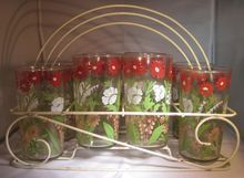 Mid Century Glass Tumbler set in Wire Rack