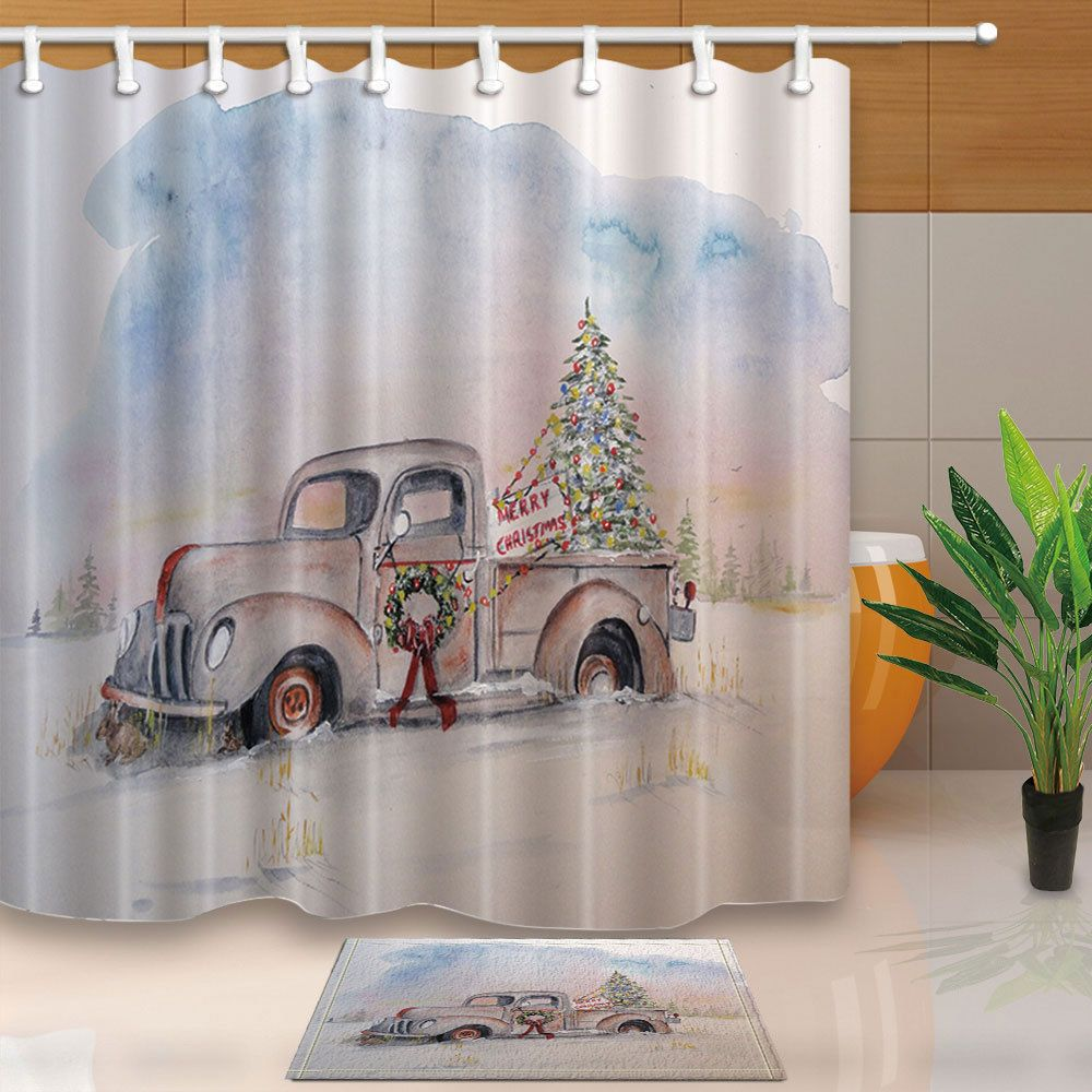 Christmas Tree And Old Truck Shower Curtain Bathroom Fabric