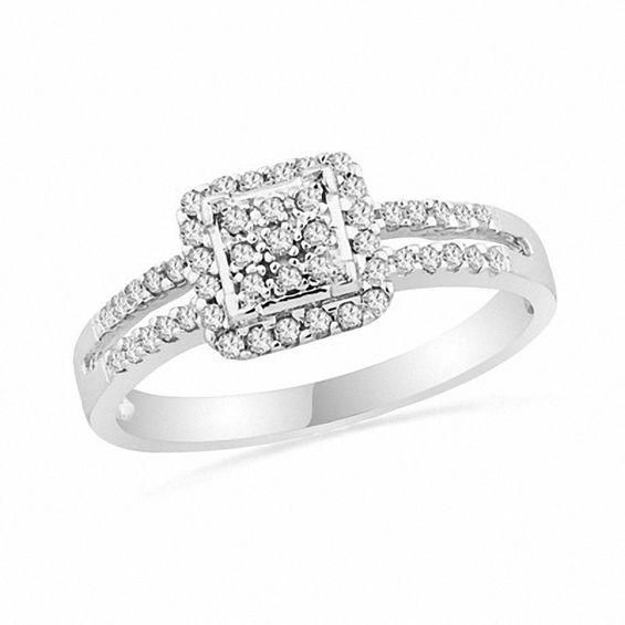 Zales 1/4 CT. T.w. Composite Diamond Layered Frame Split Shank Ring in Sterling Silver XwYDmk