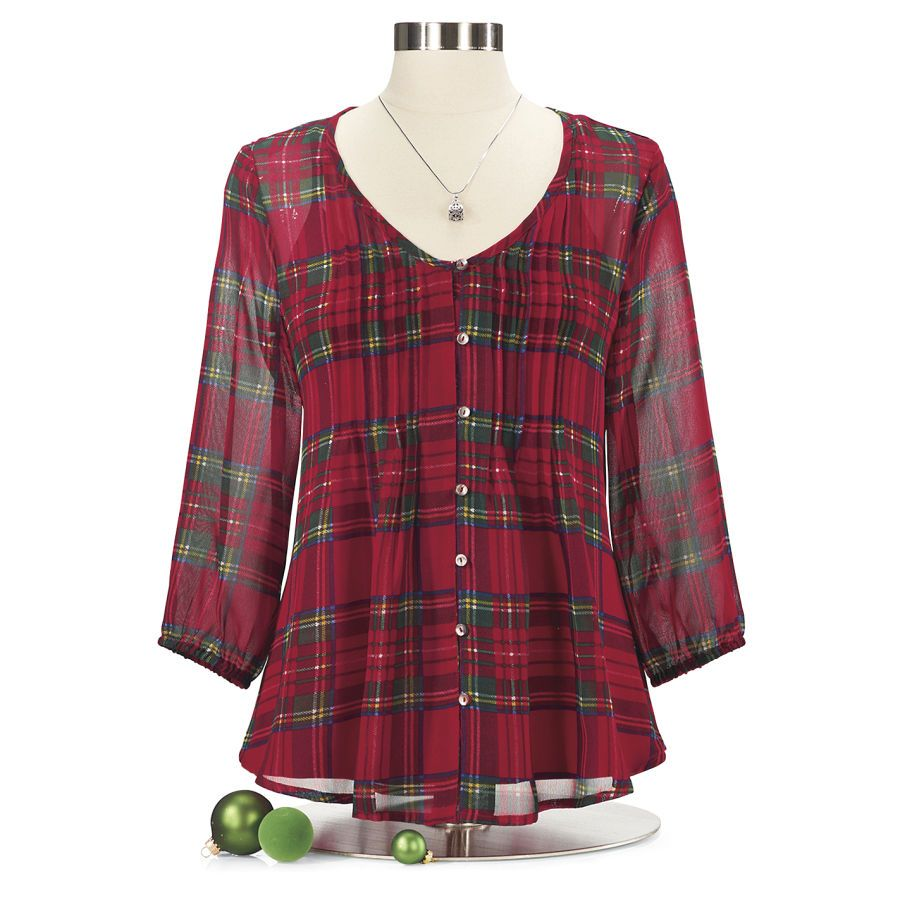 faa0273b518 The perfect tunic for the hostess off the Christmas Party! Plaid Georgette  Blouse - Women's Clothing, Unique Boutique Styles & Classic Wardrobe  Essentials