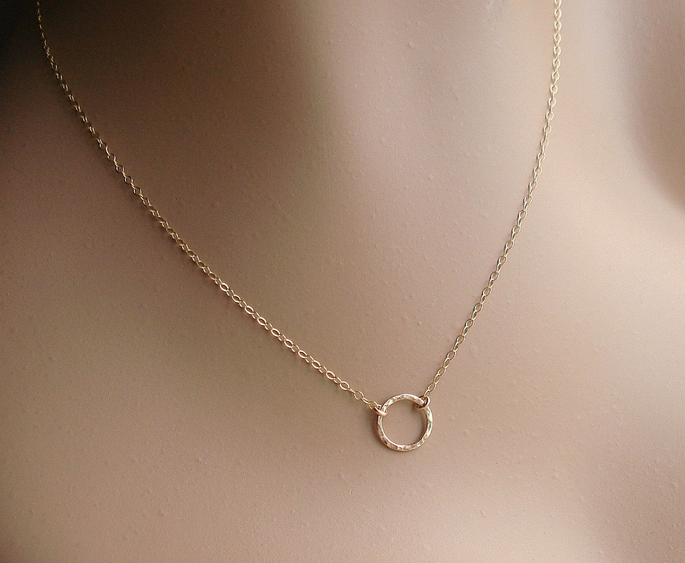 3c512547e Gold Ring Necklace, 14k Gold Filled Circle Disc, Hammered or Smooth ...