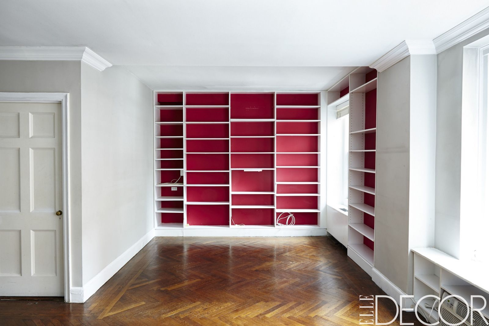 Ikea bookcase with glass doors  Inside Emmy Rossumus Manhattan Apartment Makeover  Apartment