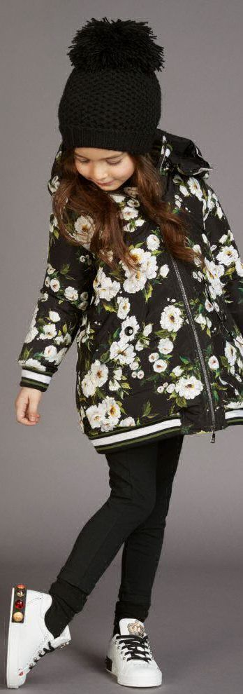 310a0d399530 Love this DOLCE   GABBANA Black   White Rose Print Down Filled Coat.  Adorable Mini Me Look for Girls Inspired by the D G Women s Fall Winter  2017-18 ...