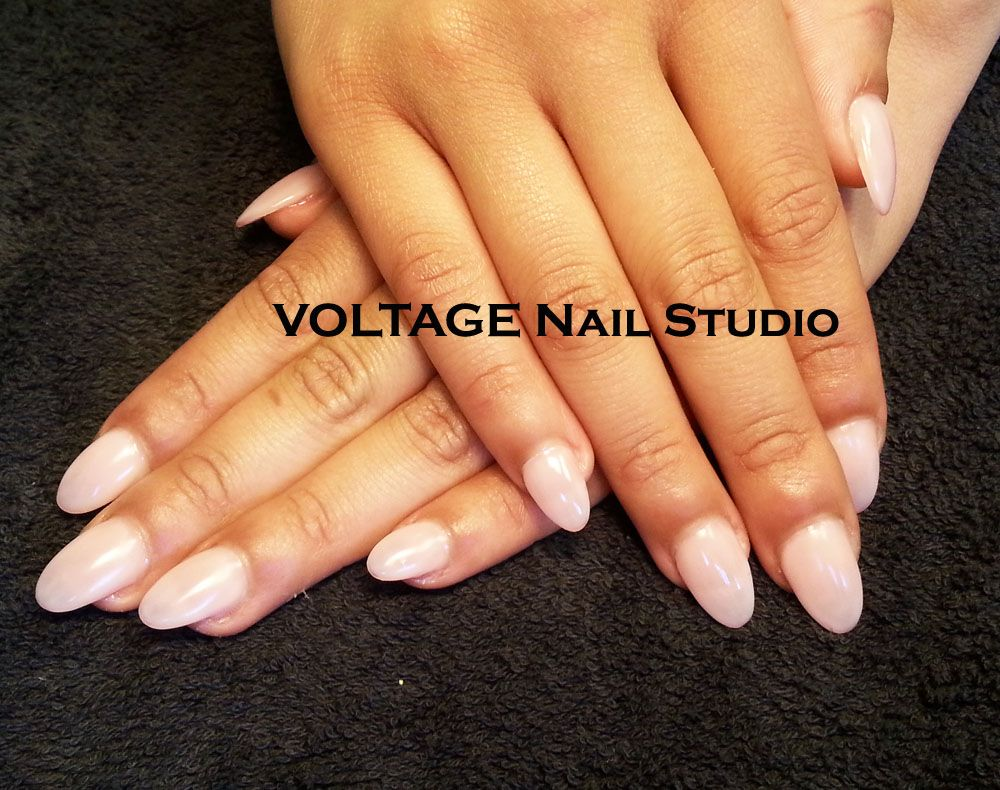 Another Acrylic Fill Done Voltage Nail Studio In New Westminster Bc The Gel Color Is Innocence By Gelaze China Glaze S New Gel Nail Studio Gel Color Nails