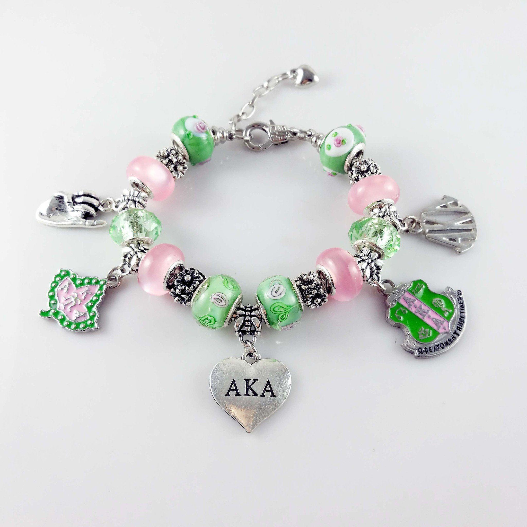 9fb7ea5fa5ef3 Alpha Kappa Alpha Gold and Silver Charm Bracelet | AKA | Alpha kappa ...