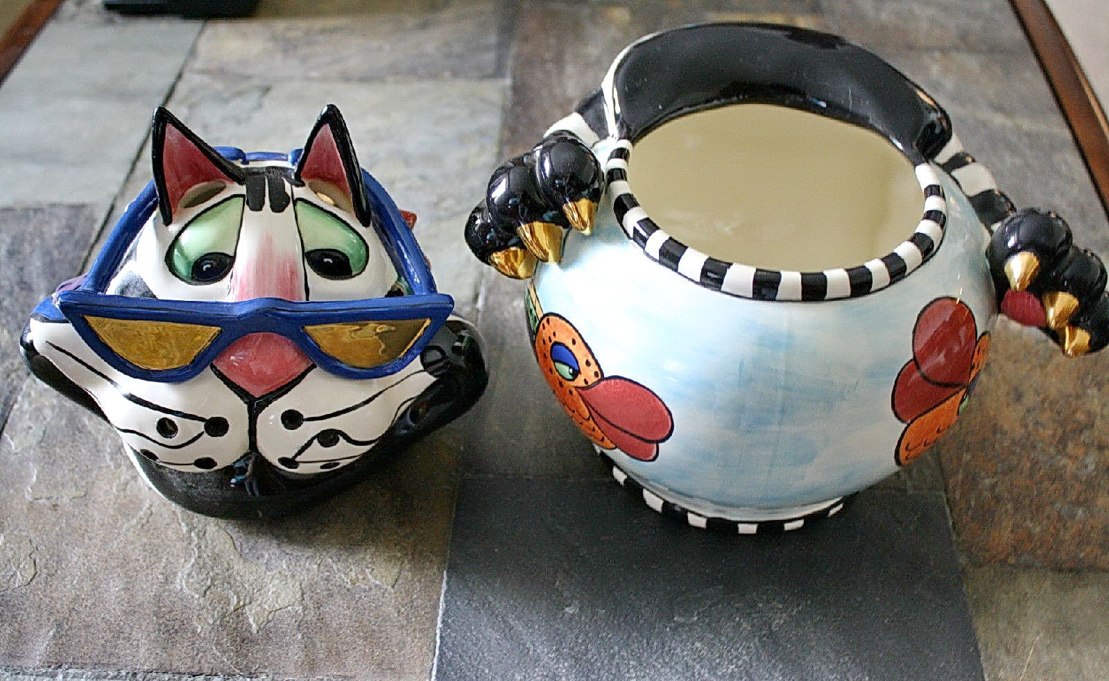 Lynda Corneille Signed SWAK Cat with Sunglasses Candle Holder or Cookie Jar