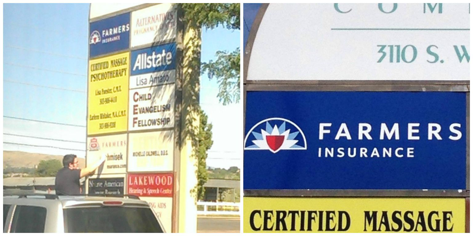 Some New Signage Farmers insurance, Business management