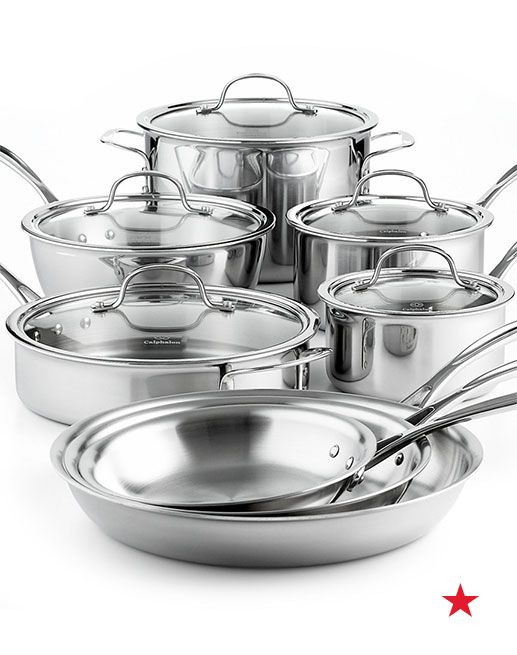 Calphalon Tri Ply Stainless Steel 13 Pc Cookware Set Cookware Kitchen Macy S Cookware Set Stainless Steel Cookware Set Calphalon Cookware Calphalon contemporary stainless 13 piece cookware set