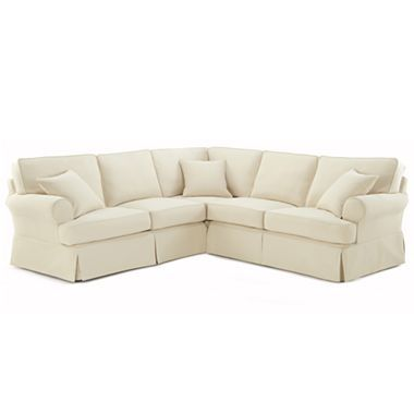 Friday Twill 3 Pc Slipcovered Sectional Jcpenney Sectional