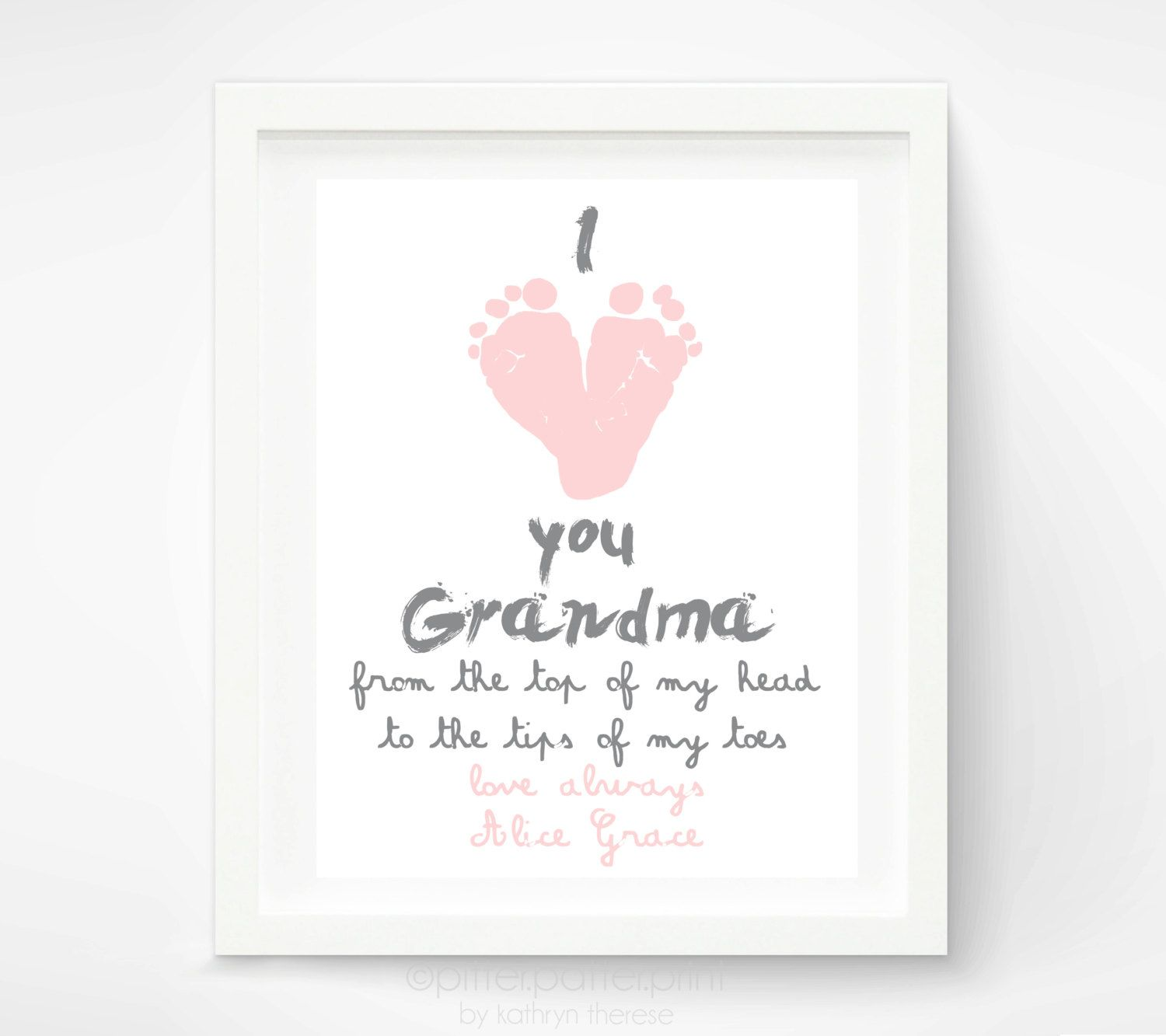 Personalized mothers day gift for grandma from baby i love you personalized mothers day gift for grandma i love you grandma baby footprint art gift for grandmother gift for new grandma 3000 via etsy negle Image collections
